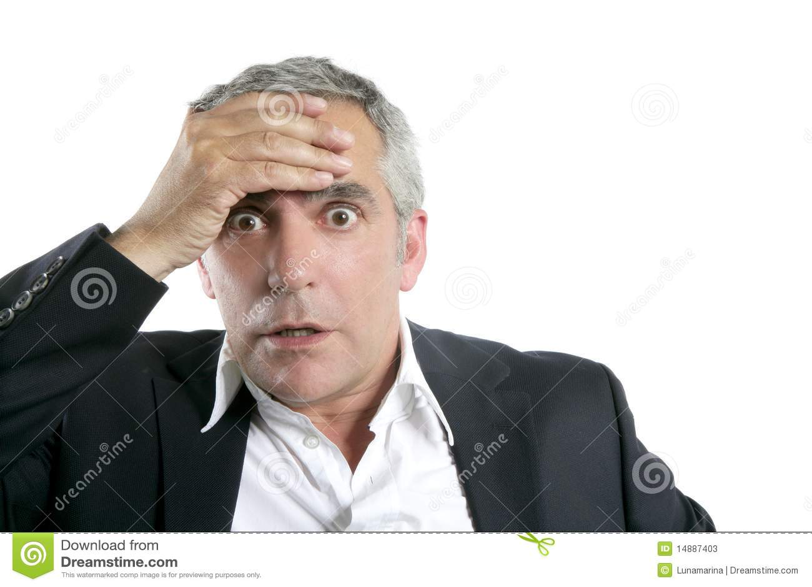 senior businessman worried expression serious stock image