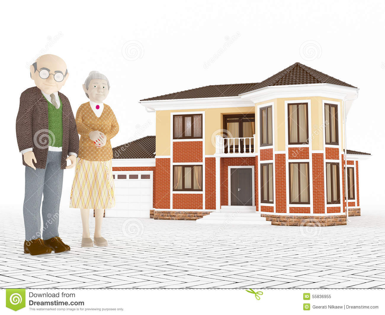 Senior cartoon couple standing in front of big house stock for House plans for retired couples