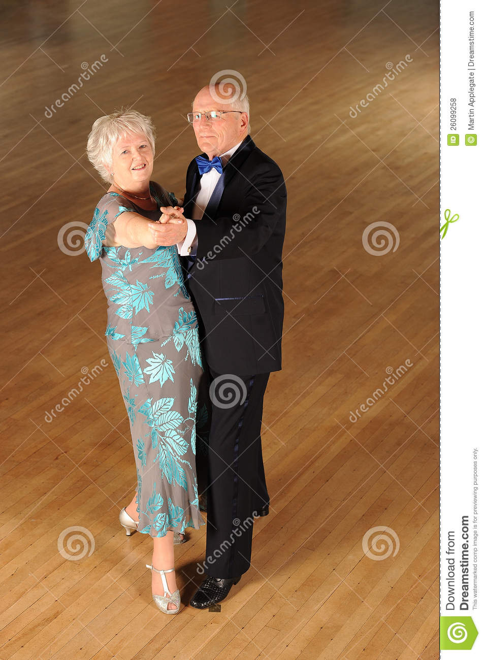 Senior Couple Ballroom Dancing Stock Image Suit Looking
