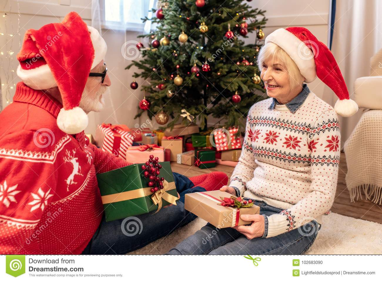 download senior couple with christmas presents stock photo image of wife family 102683090