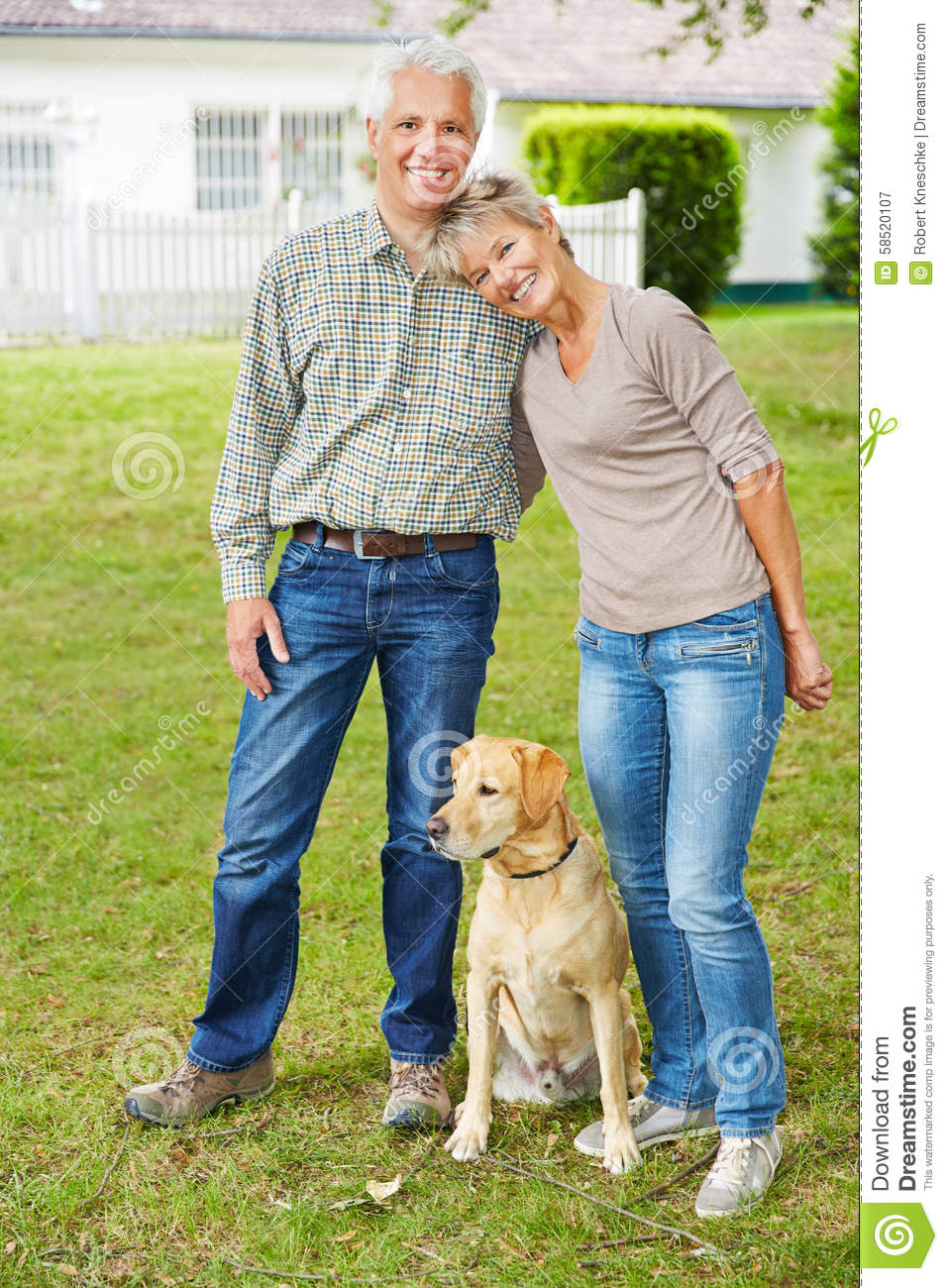senior couple with dog in front of house stock image image of fall active 58520107. Black Bedroom Furniture Sets. Home Design Ideas