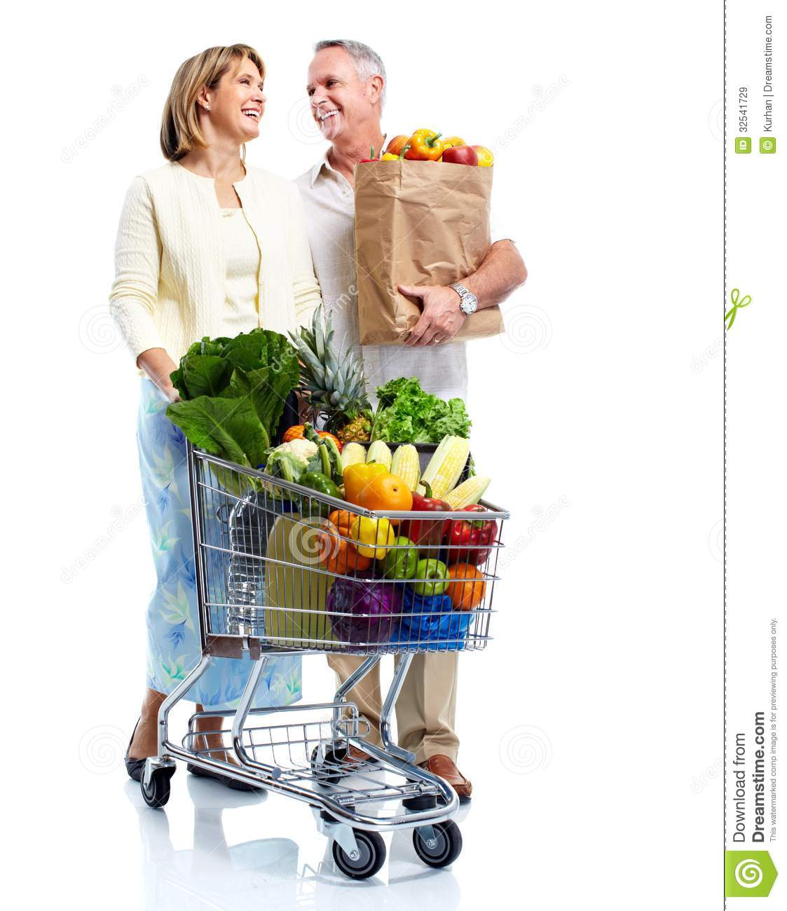 Senior Couple With A Grocery Shopping Cart. Royalty Free Stock Images ...