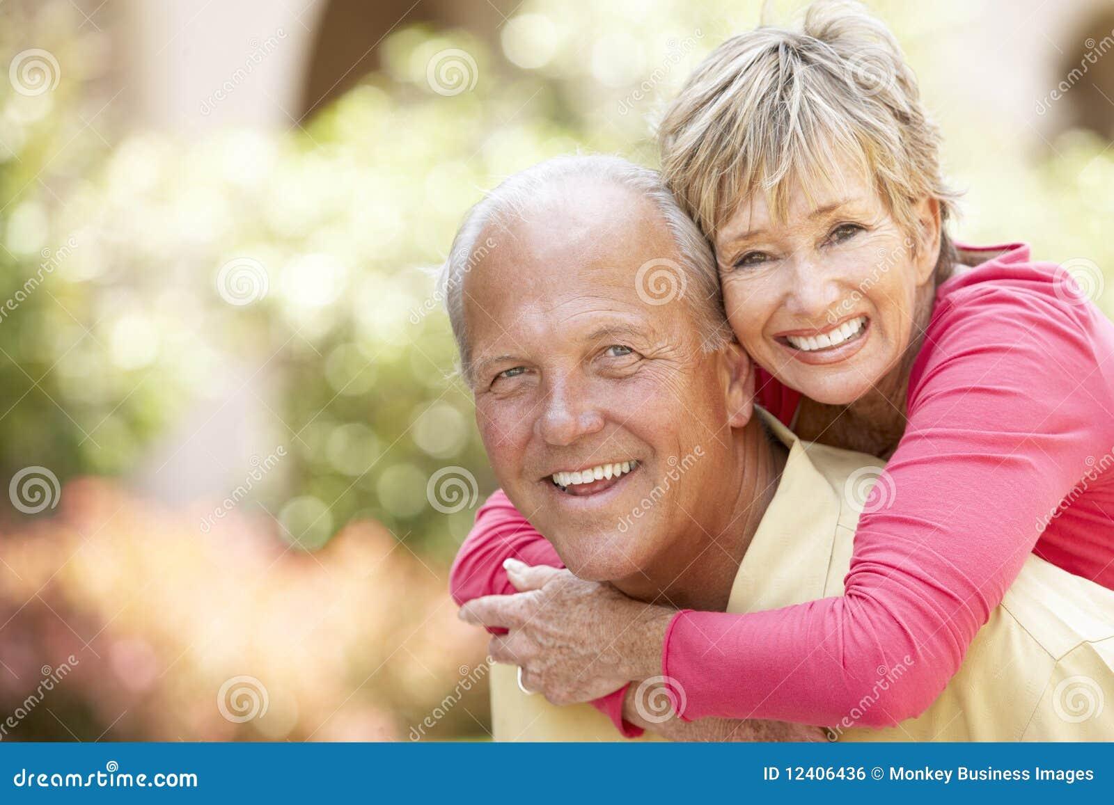 Senior Couple Having Fun In City