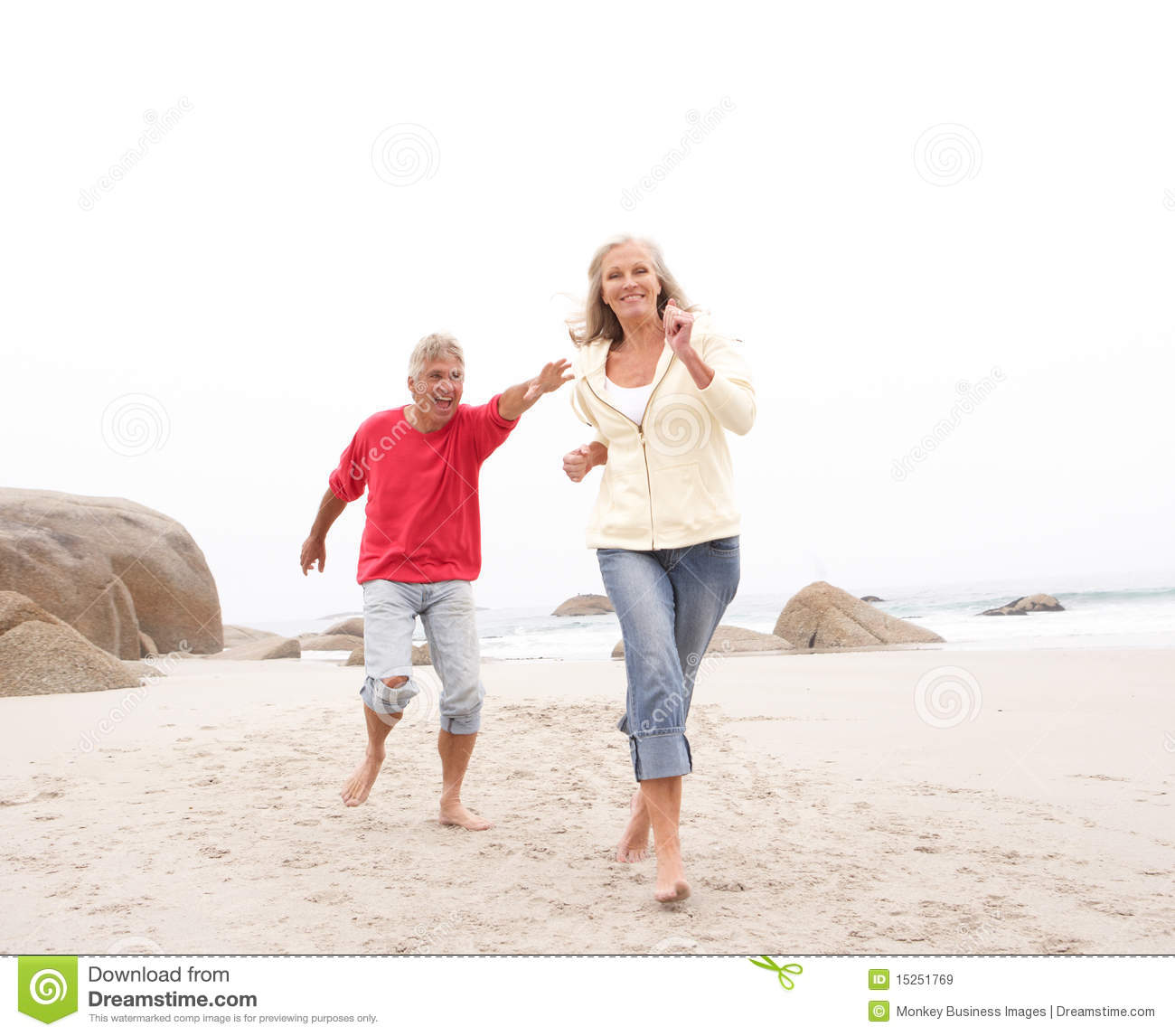 Couple At The Beach Stock Image Image Of Caucasian: Senior Couple On Holiday Running Along Beach Stock Image
