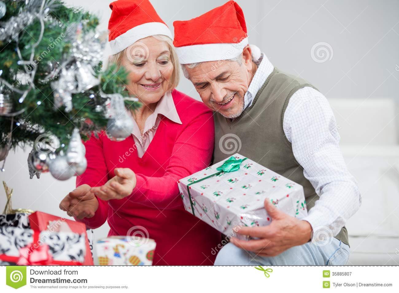 Senior Christmas Gifts: Senior Couple Looking At Present While Decorating Royalty