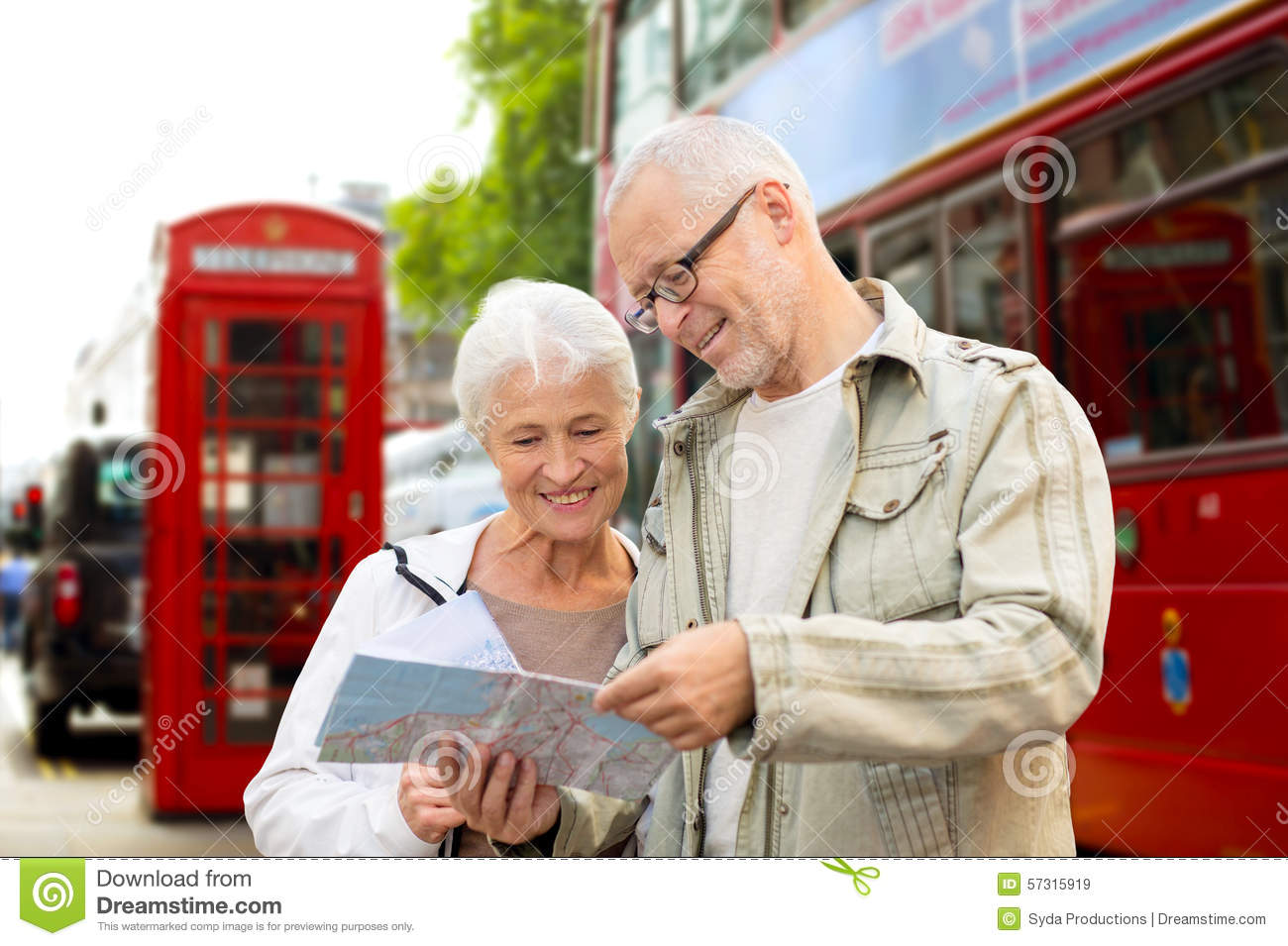 Senior Couple With Map On London In City Street Stock Photo Image 57315919