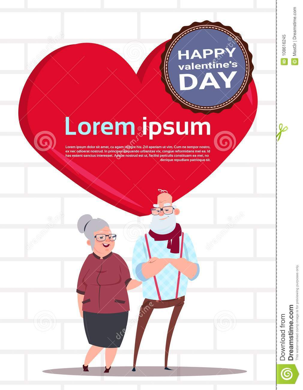 Senior Couple Over Red Heart Shape With Copy Space Happy Valentines