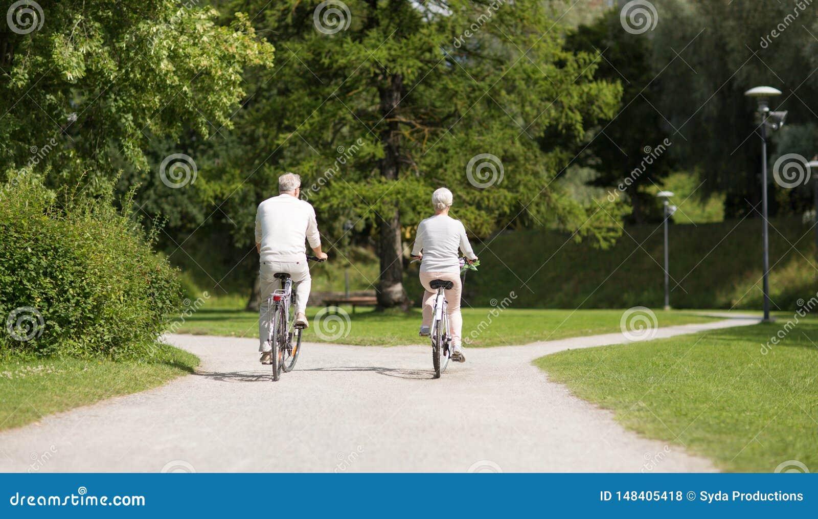 Senior couple riding bicycles at summer park