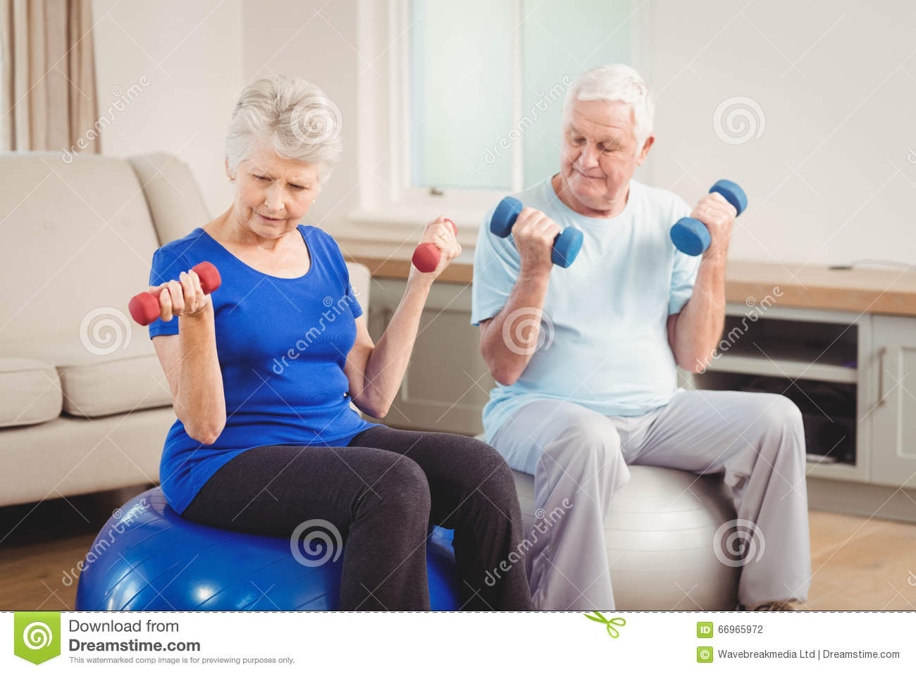 Download Senior Couple Sitting On Fitness Balls With Dumbbells Stock Photo - Image of clothing, hand: 66965972