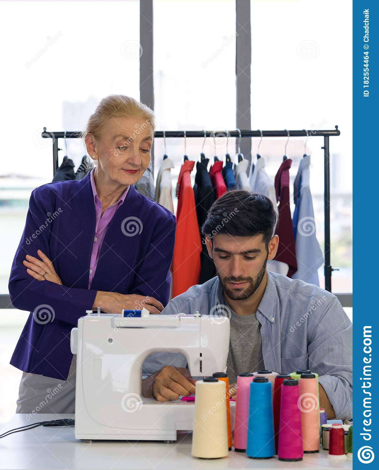 Senior Fashion Designers Closely Control The New Designers In Their Work Stock Photo Image Of Process Industry 182554464