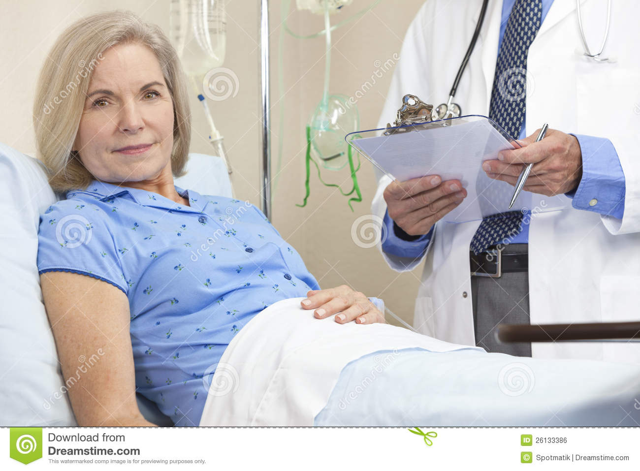 Senior Female Woman Patient In Hospital Bed Royalty Free Stock Image ...