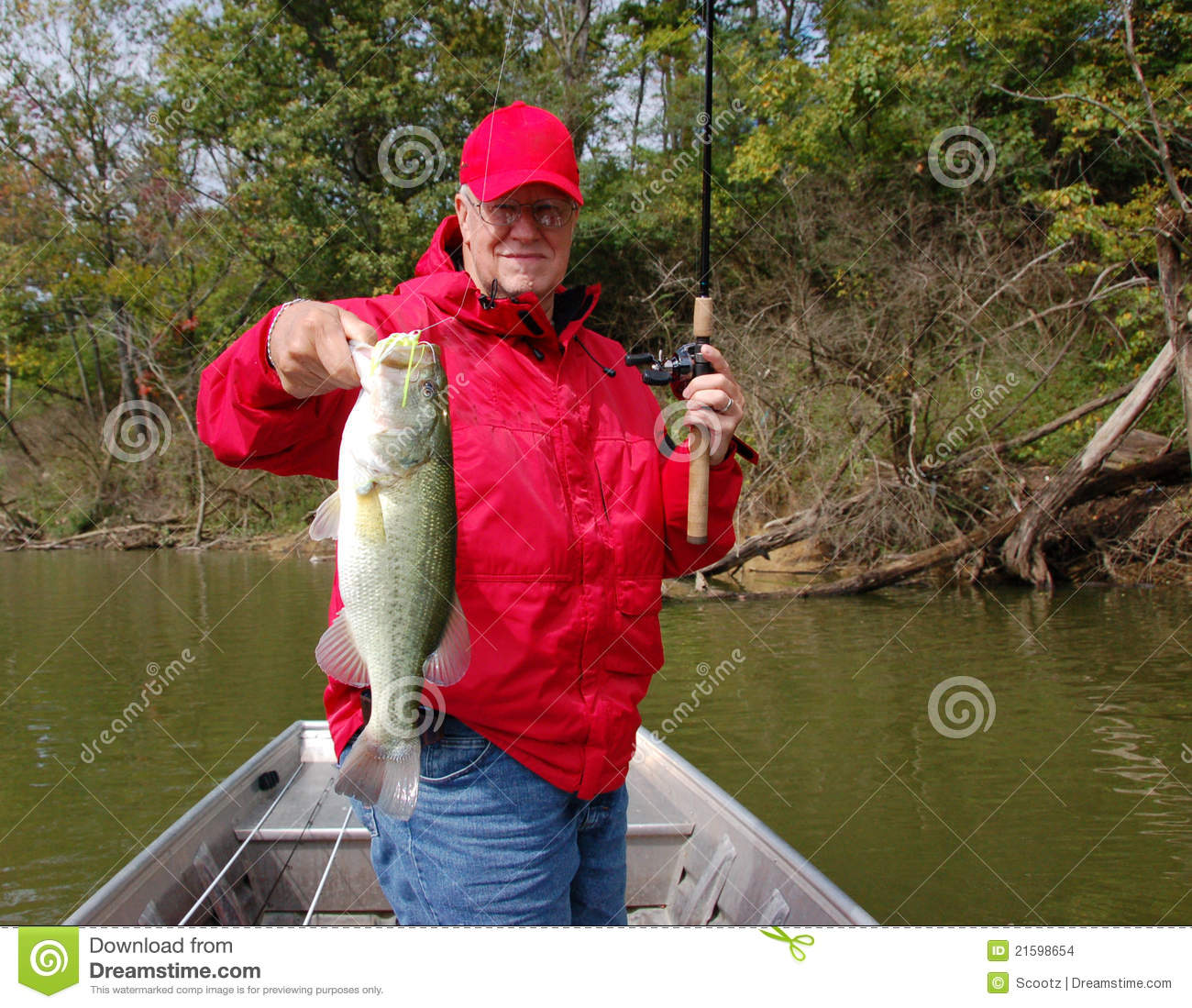 Senior fishing for bass