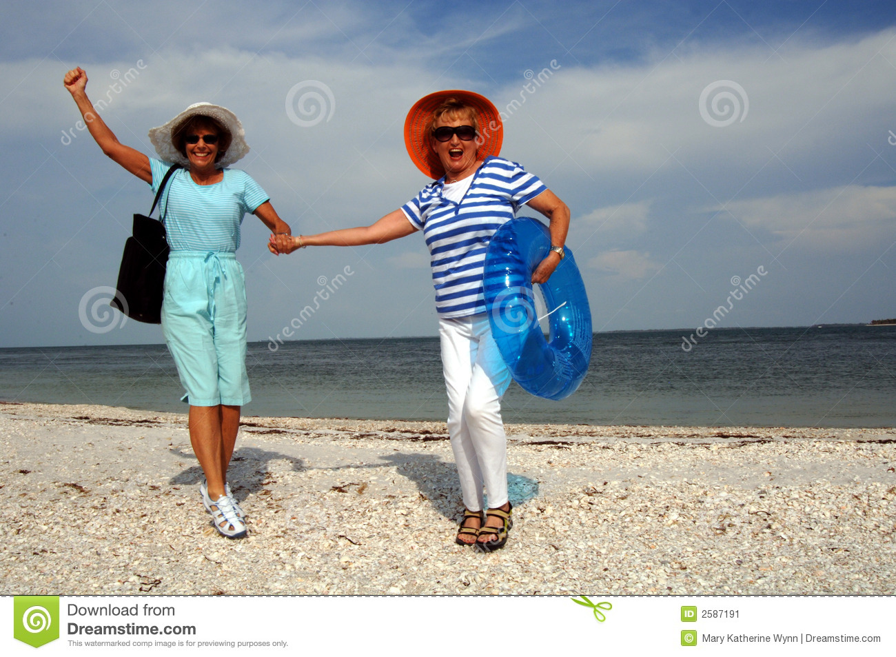Senior Friends Beach Vacation Stock Image Image 2587191