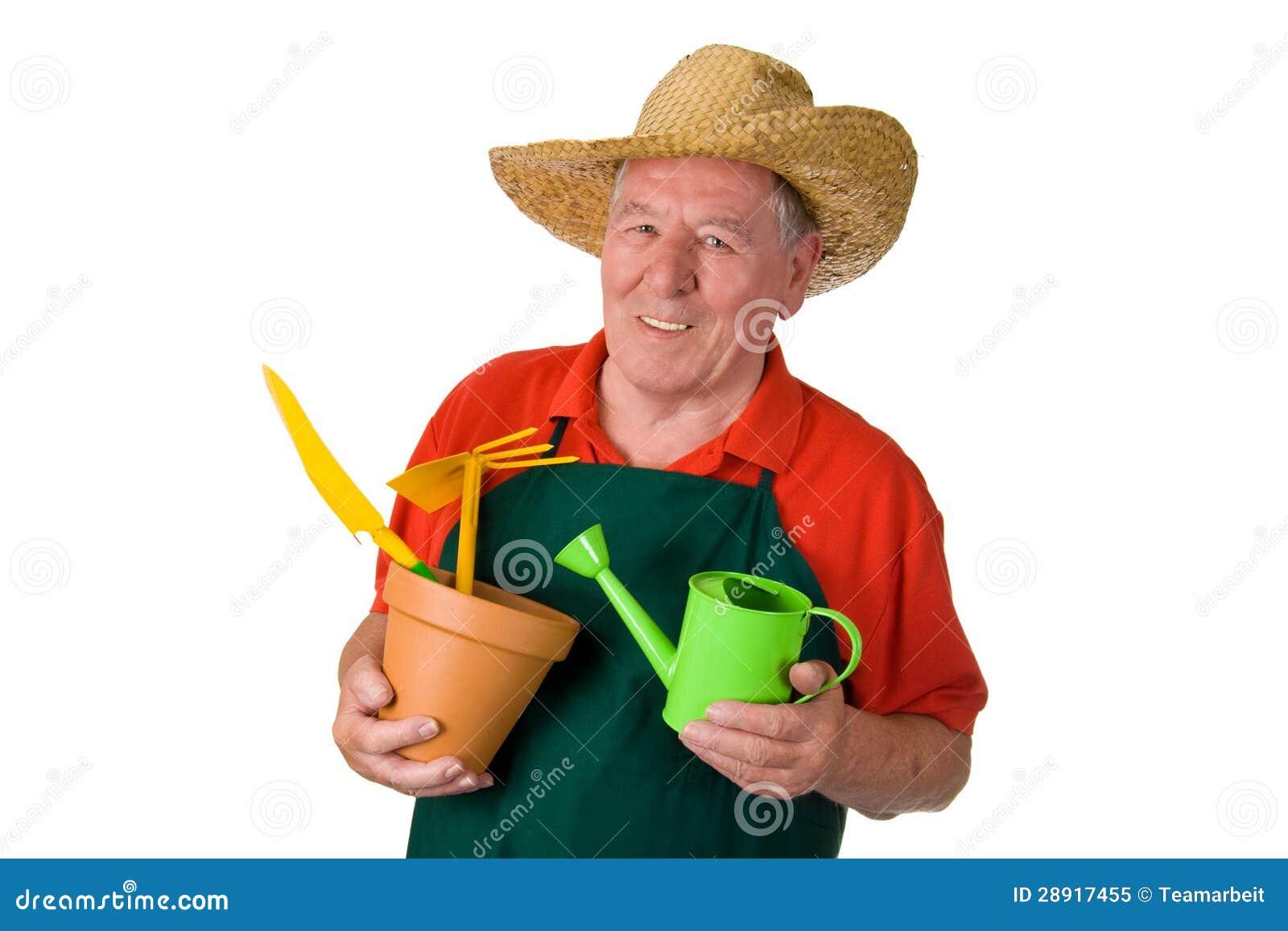Senior Gardener Holding Gardening Tools Royalty Free Stock