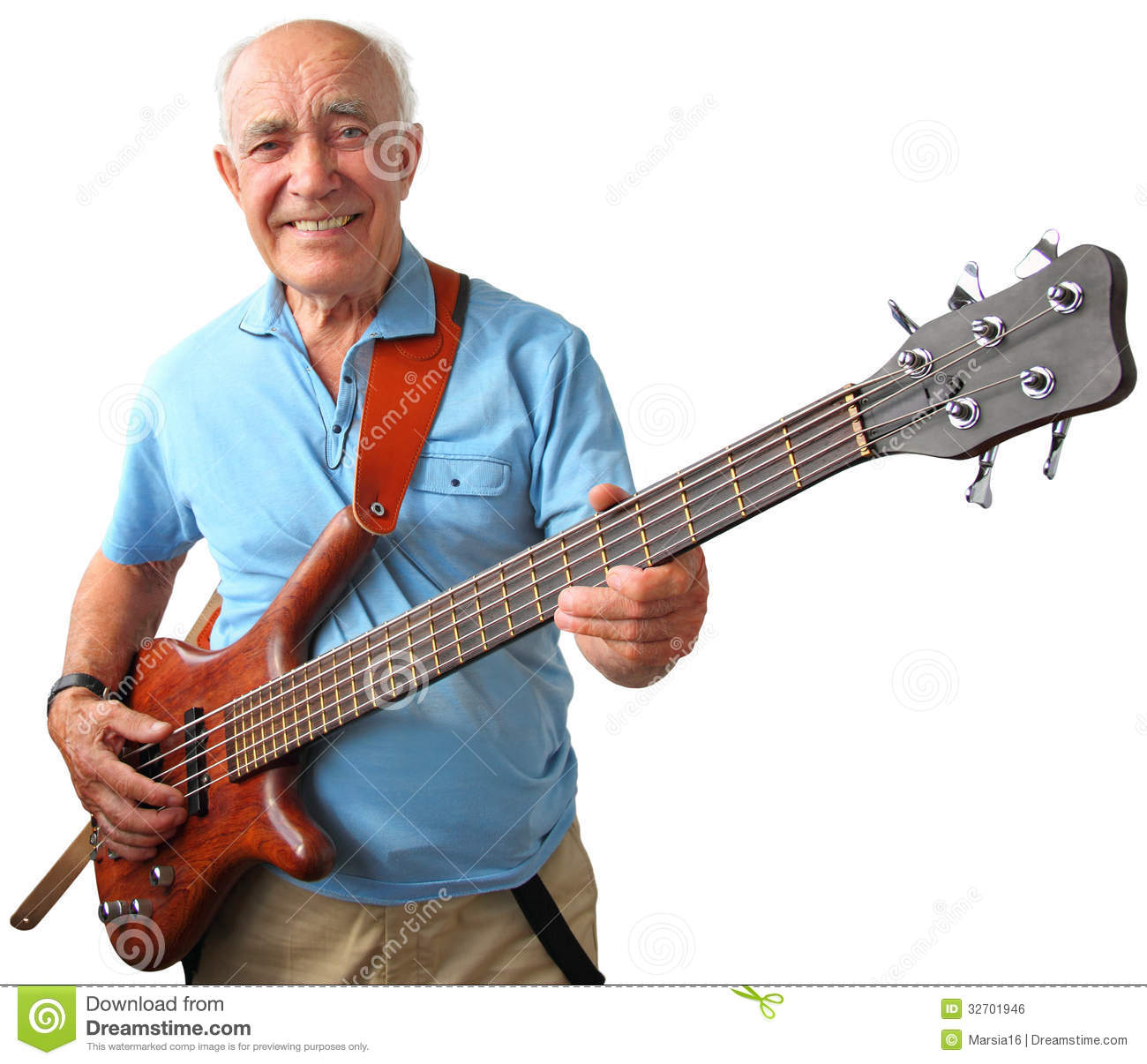 Senior Guitar Man Smiling Elderly Holding Electric Bass Isolated White Background