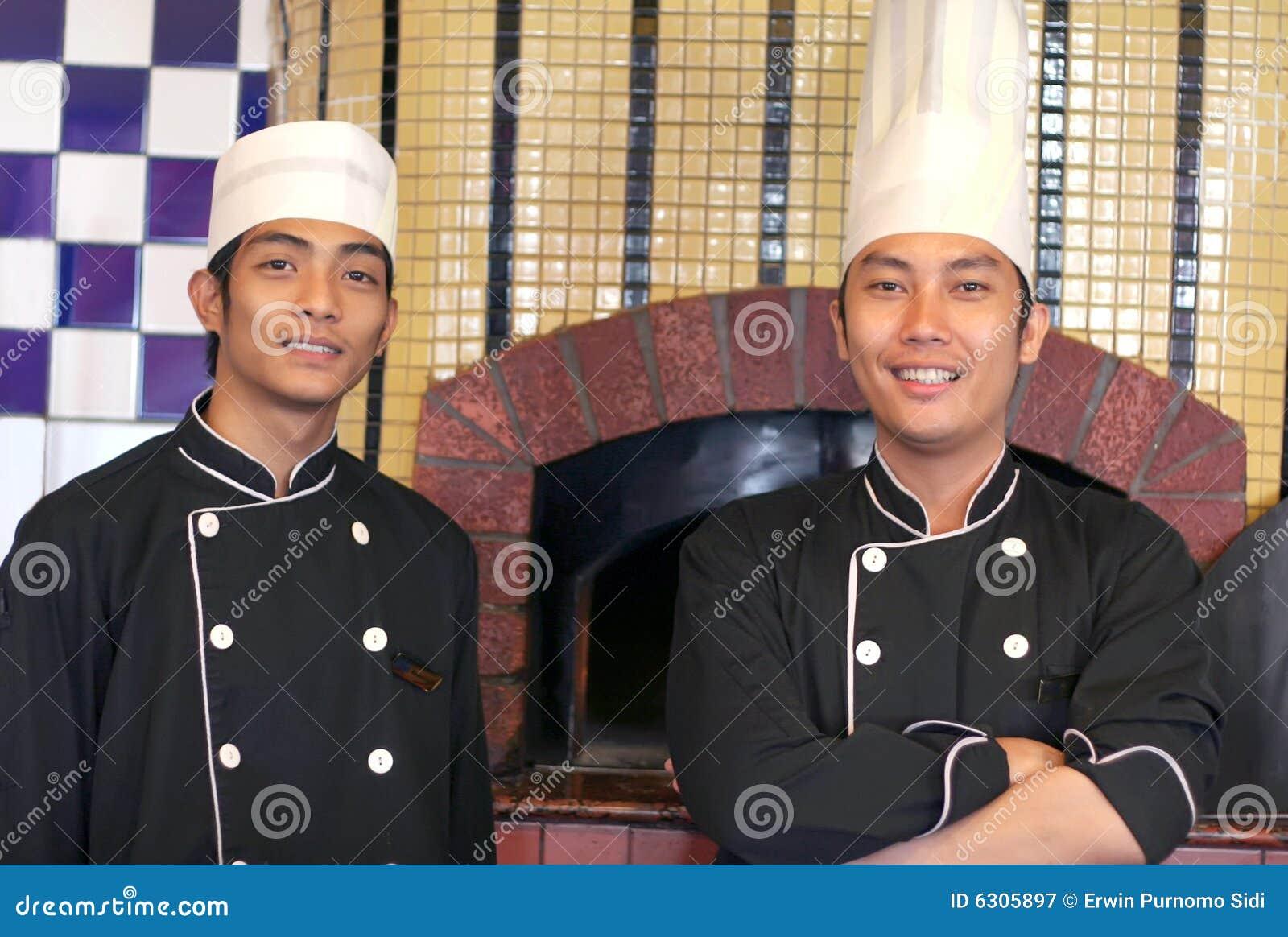 Senior and junior chef
