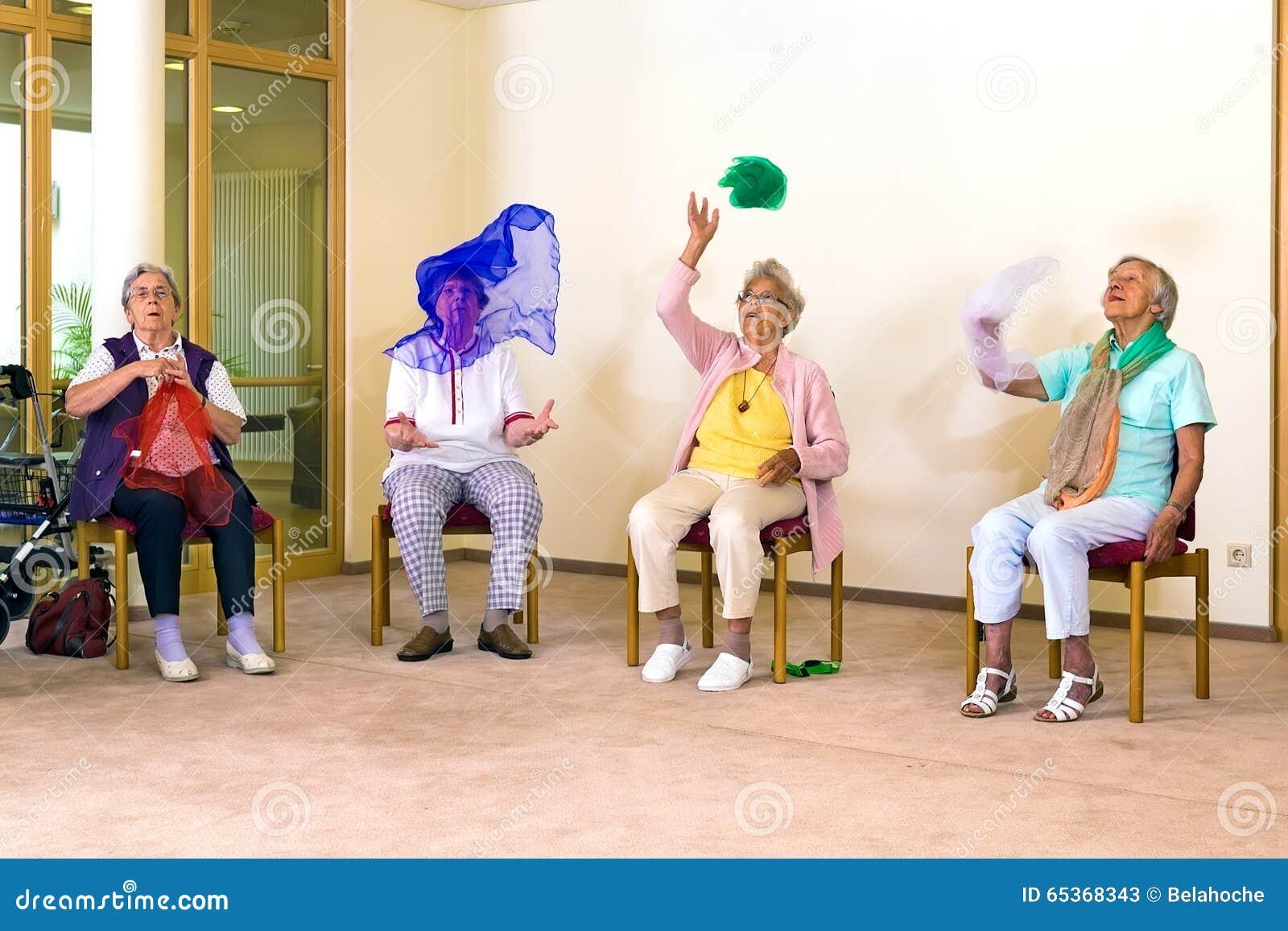 Senior Ladies Having Fun While Exercising  Stock Image - Image of