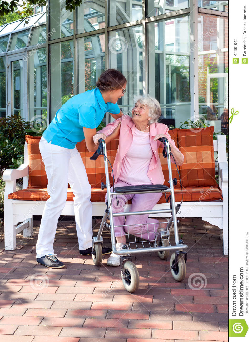 Senior Lady With A Care Assistant Or Her Daughter Stock