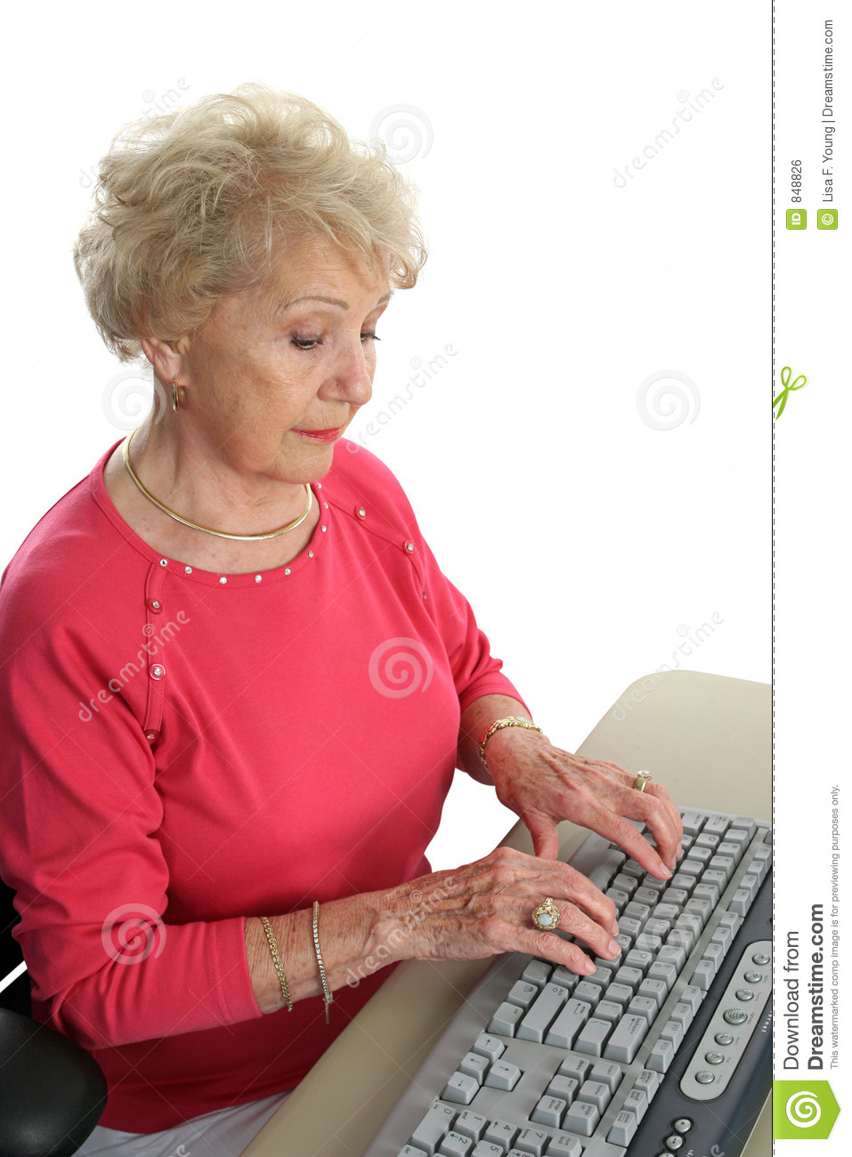 Senior Lady Learns Computer