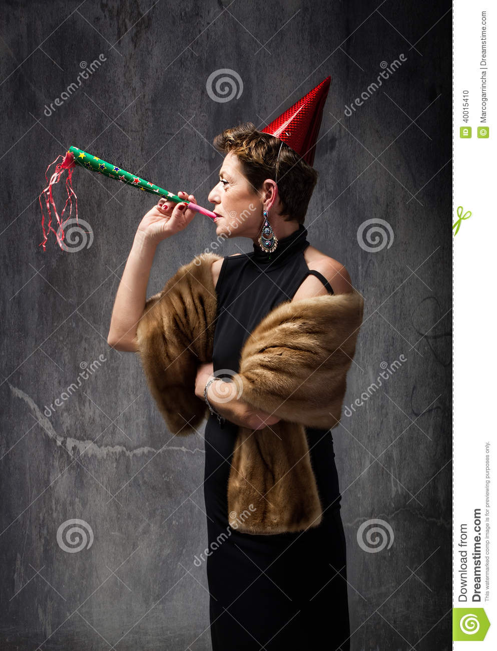 Senior Lady Ready For New Years Eve Party Stock Photo ...
