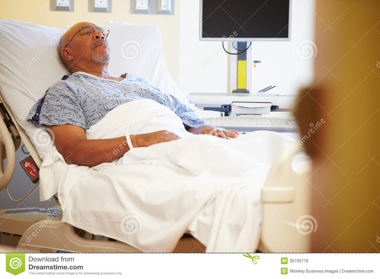 Black Hospital Patient Lying In Bed
