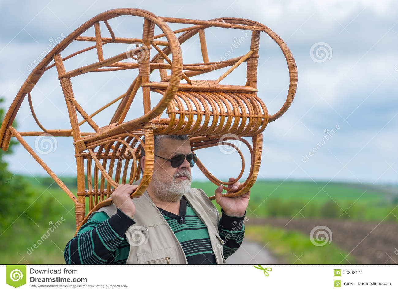 Picture of: Senior Man In Black Sunglasses Carrying Rocking Chair On The Head Stock Photo Image Of Outdoor Black 93808174