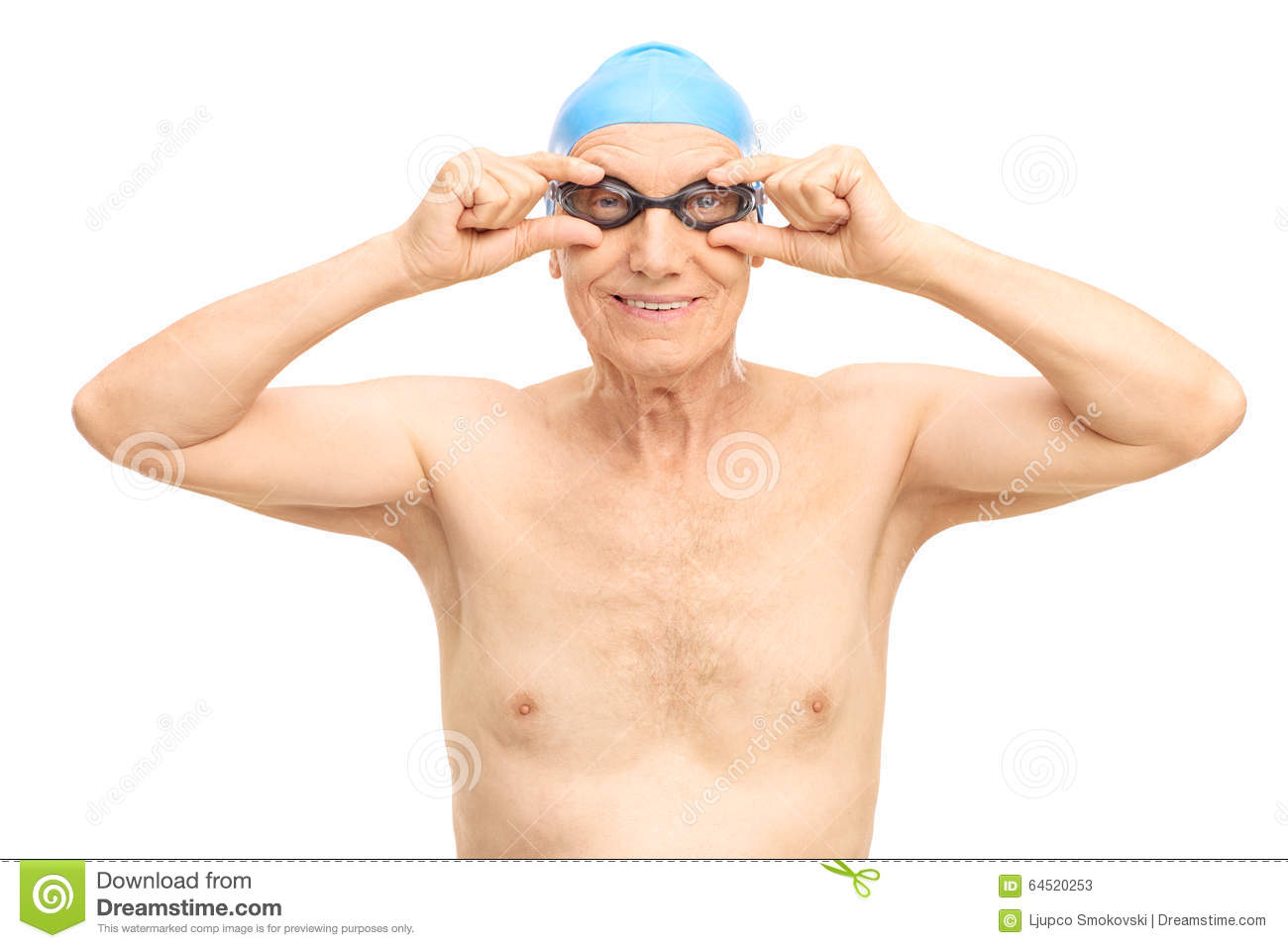 Senior man with black swimming goggles
