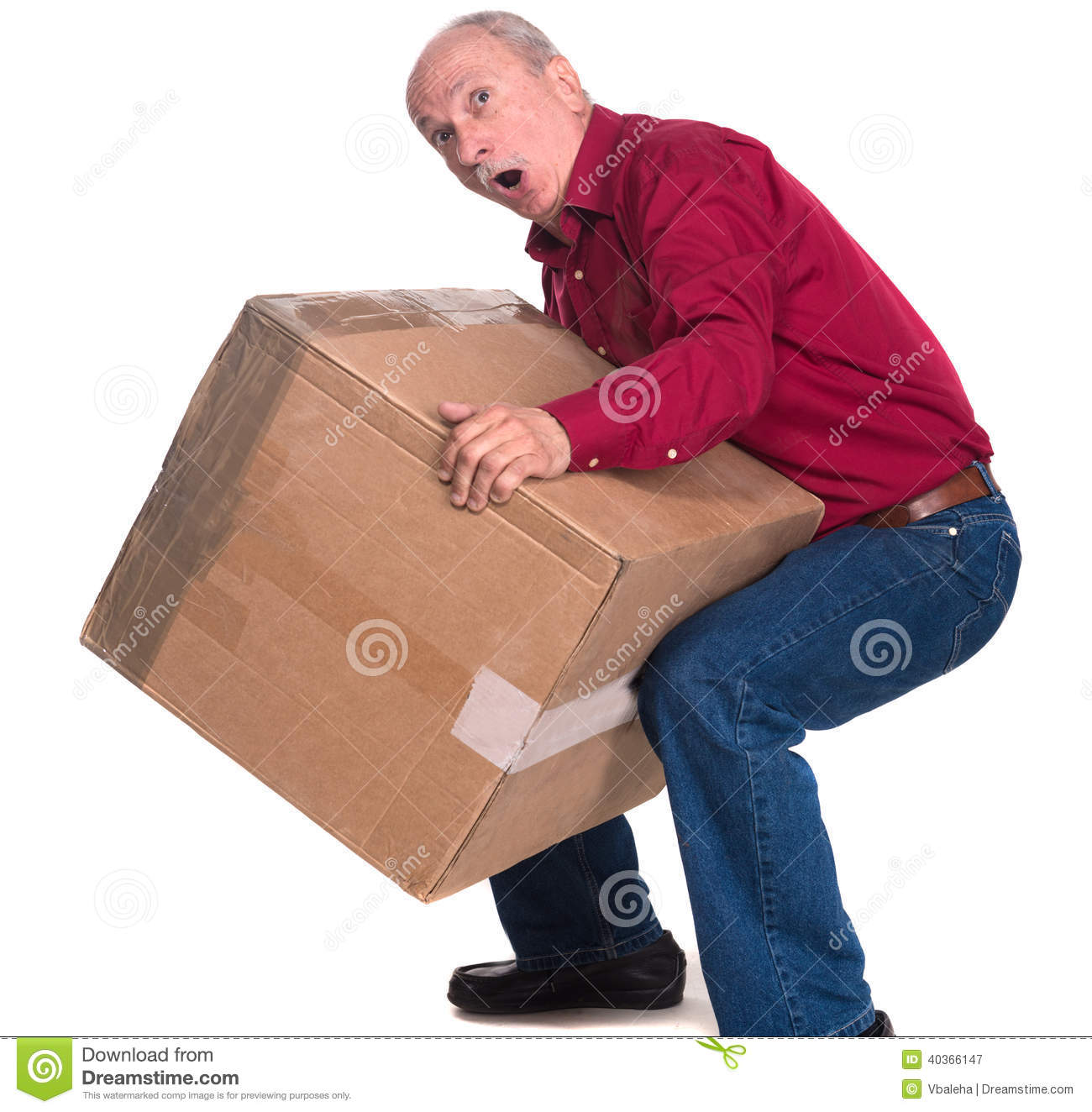 Senior Man Carries A Heavy Box Stock Photo - Image: 40366147