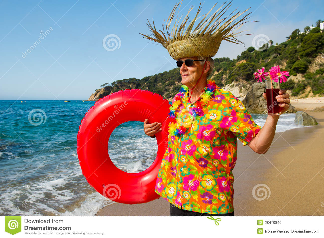 Senior Man With Cocktail Drink At The Beach Stock Photo - Image ...