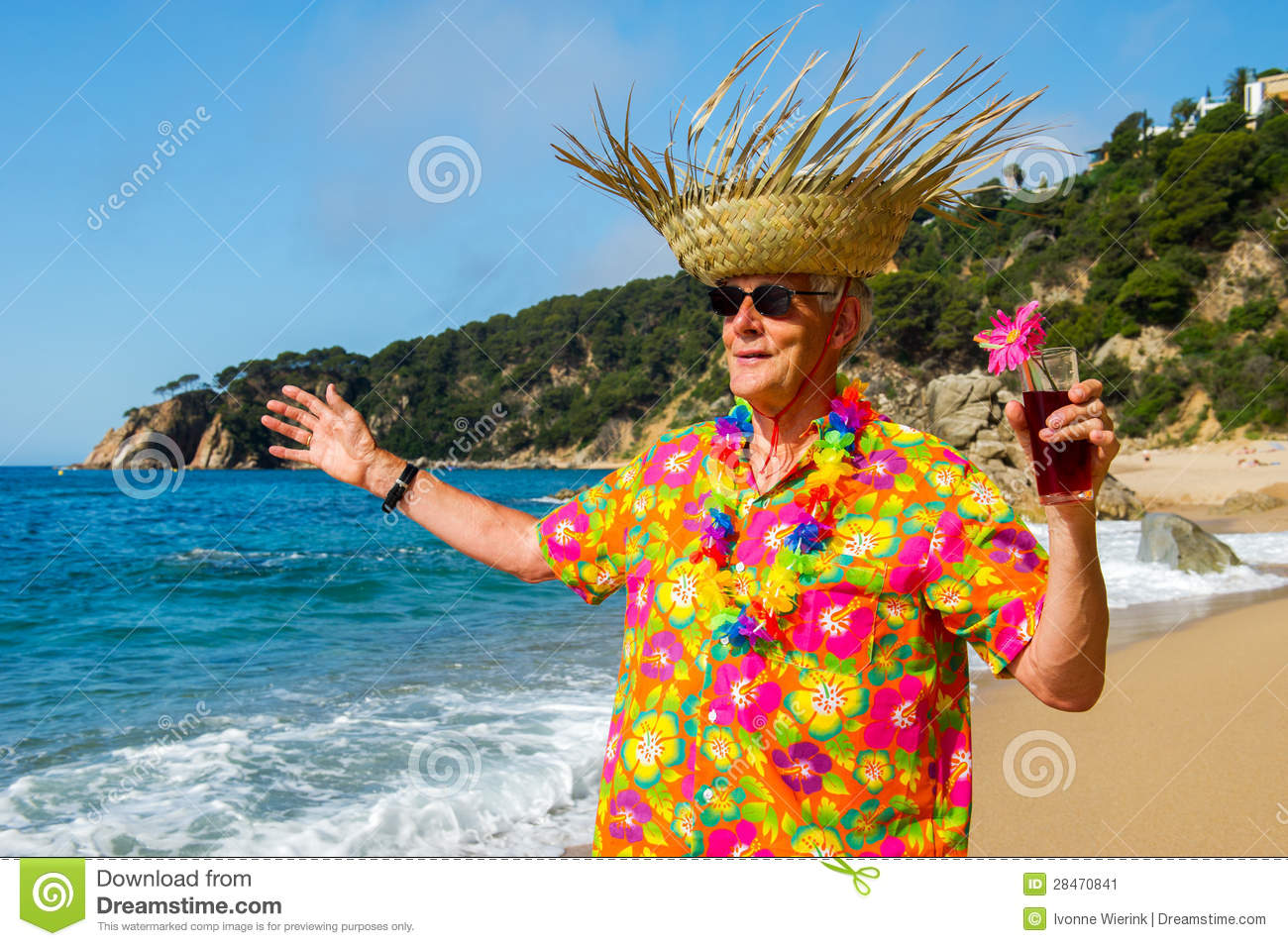 Senior Man With Cocktail Drink At The Beach Stock Image - Image ...