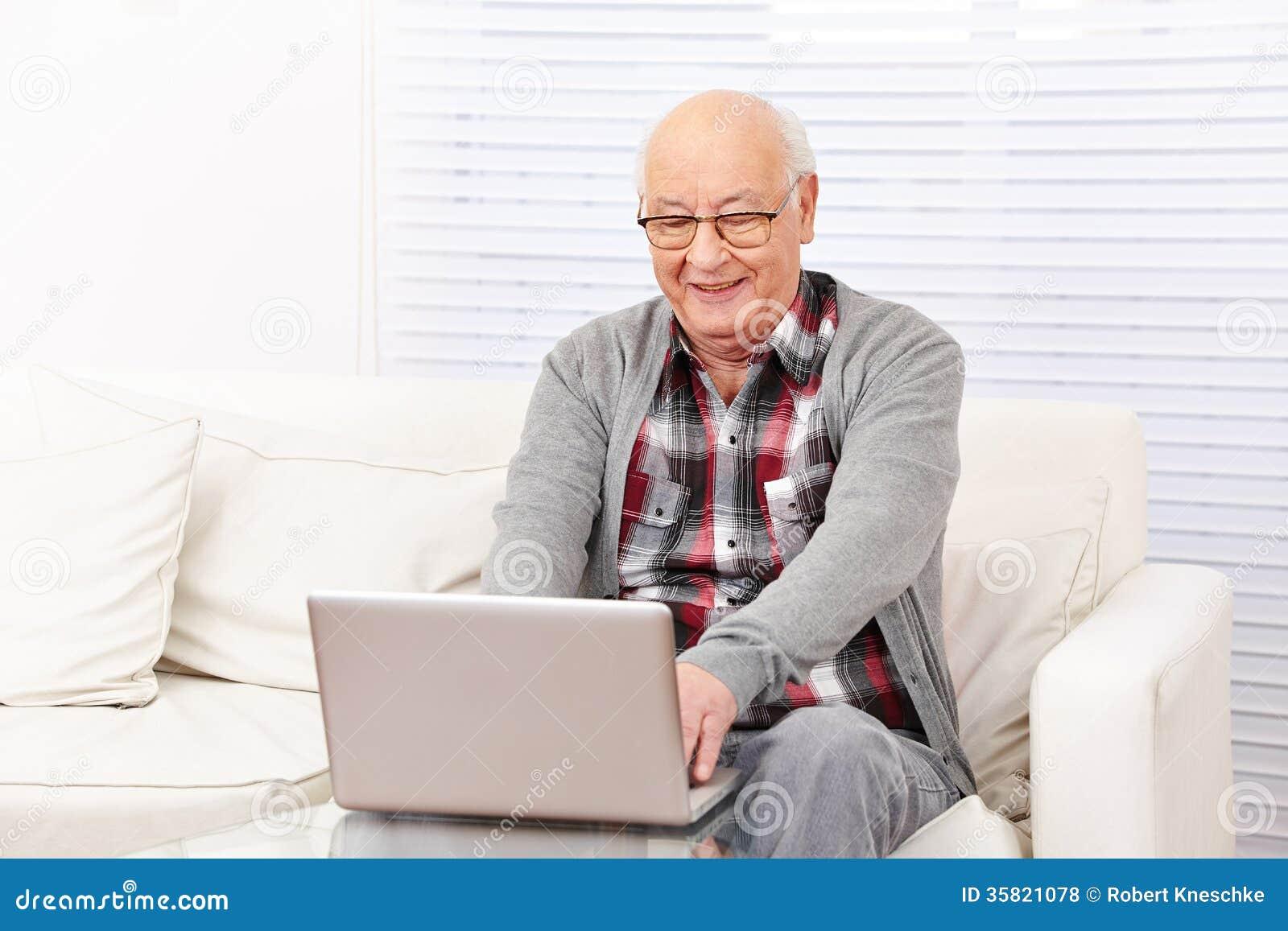 Senior Man With Computer Royalty Free Stock Photos - Image: 35821078