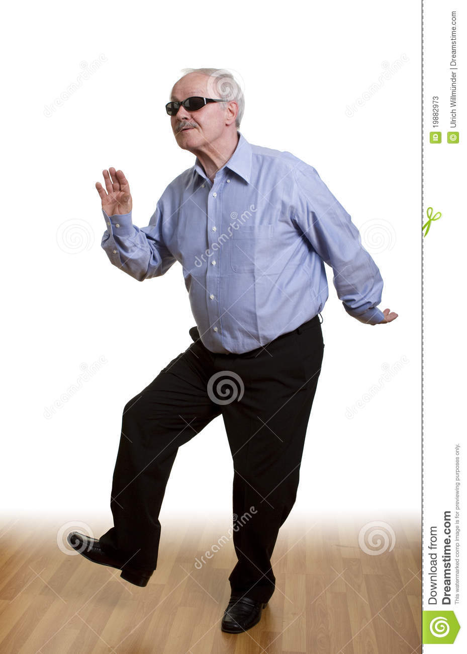 young at heart senior man dancing alone, isolated on white. Vacuum Clipart Black And White