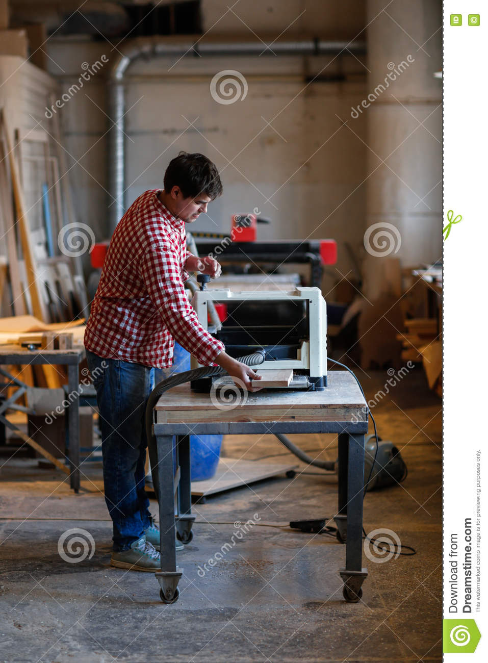 Enjoyable Senior Man Doing Carpentry With Edging Plane On Workbench Machost Co Dining Chair Design Ideas Machostcouk