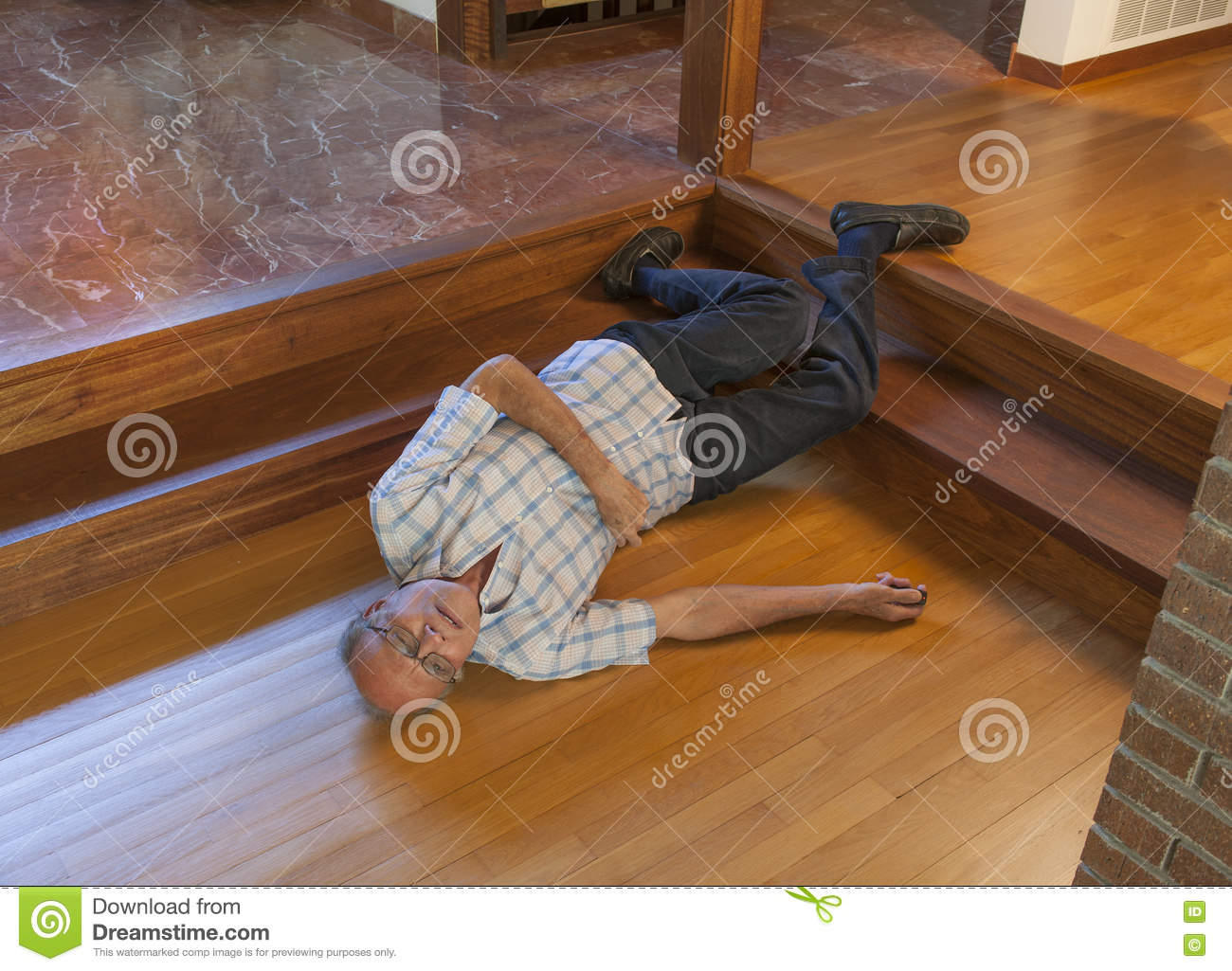 Senior Man Fell Down The Stairs Stock Photo Image 73729116