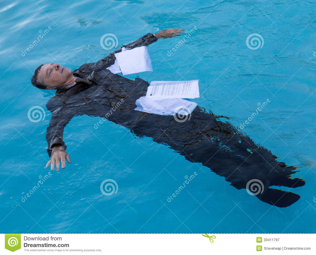 Senior Man Floating Among Papers In Water Royalty Free ...