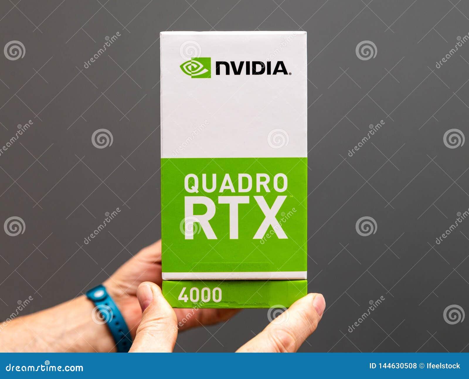 Senior Man Holding Cardboard Box Of New Nvidia Quadro RTX