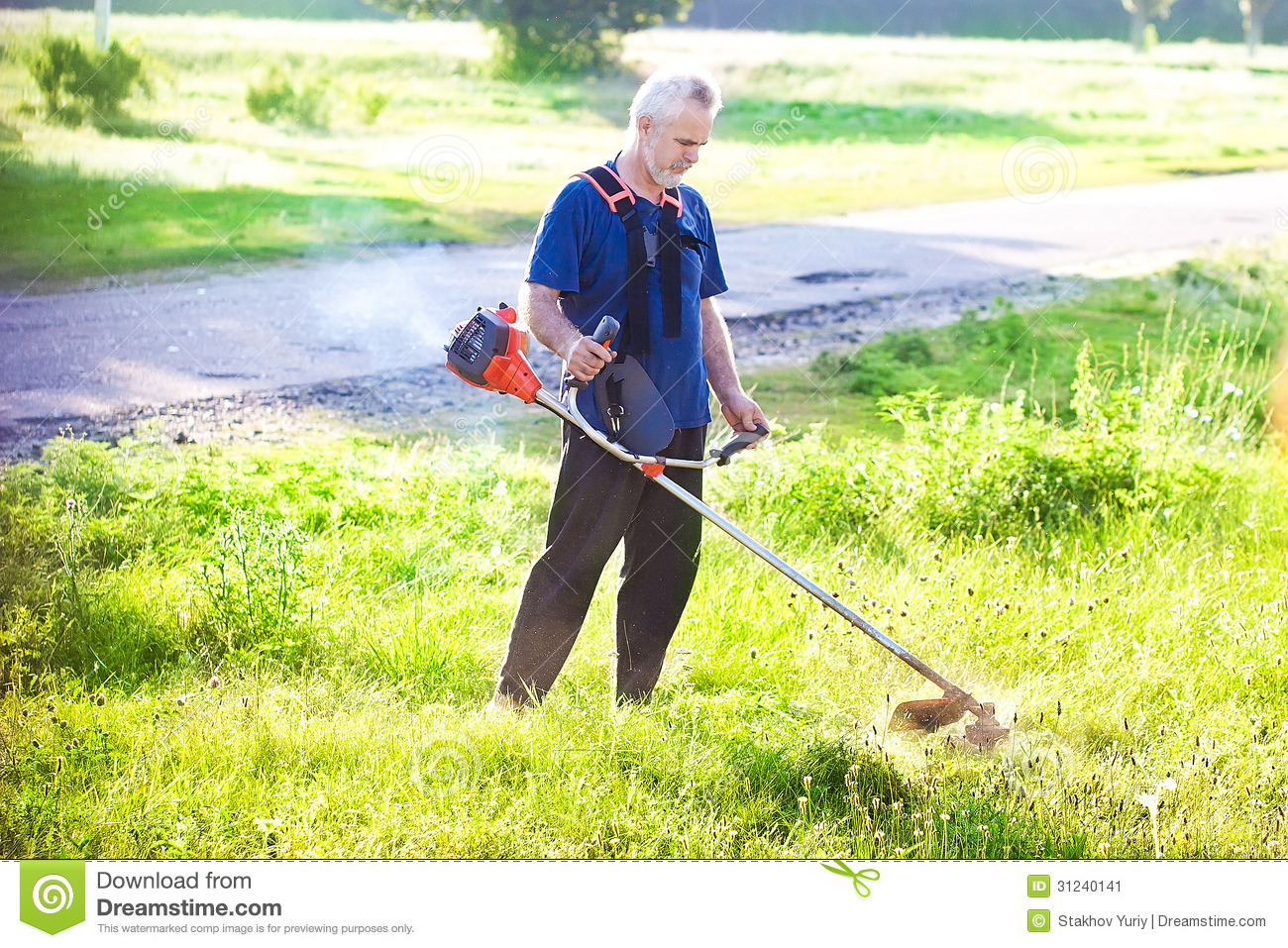 Senior Man With Lawn Mower Stock Image - Image: 31240141