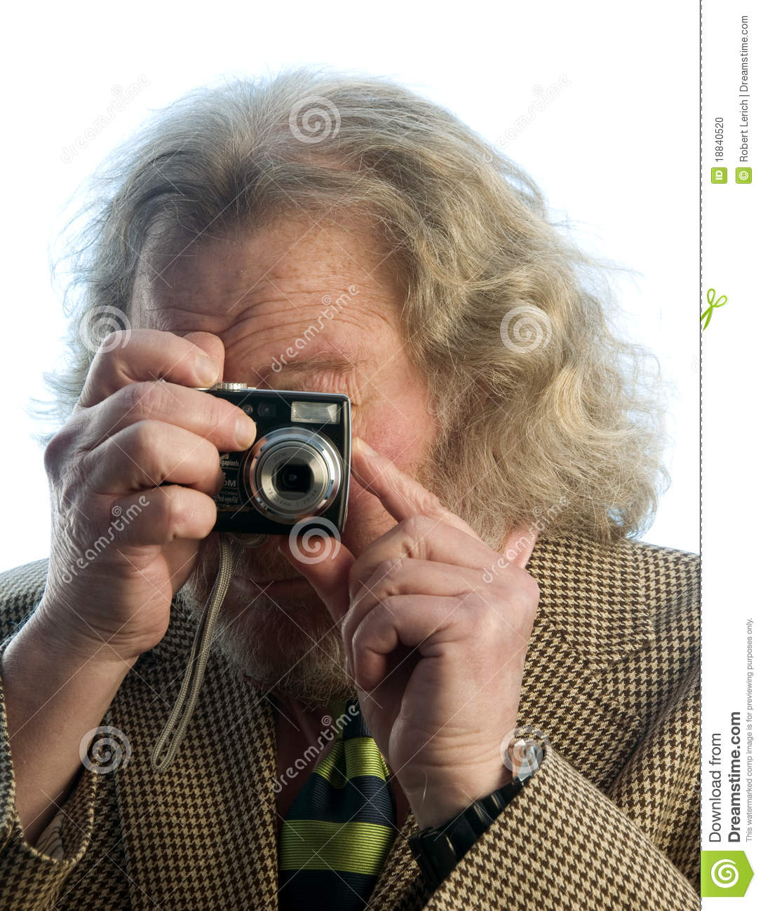 Senior man long hair point and shoot camera