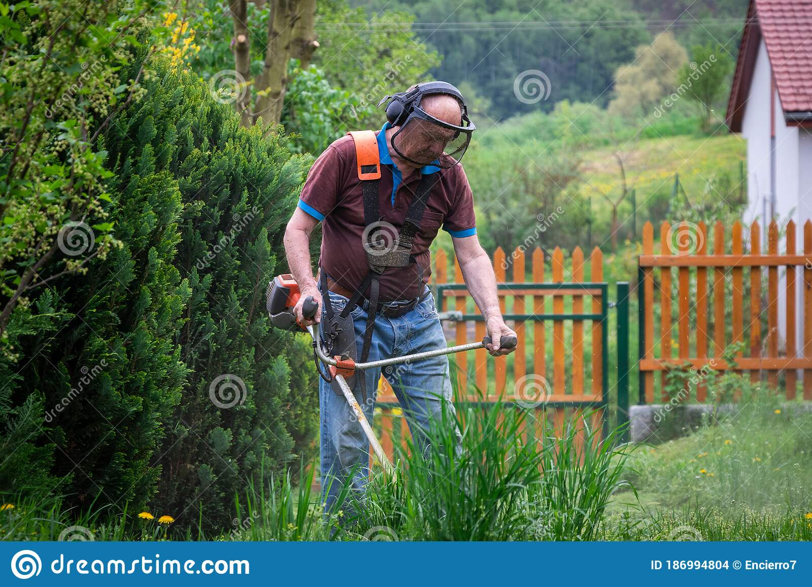 Man mowing lawn stock image. Image of countryside, green