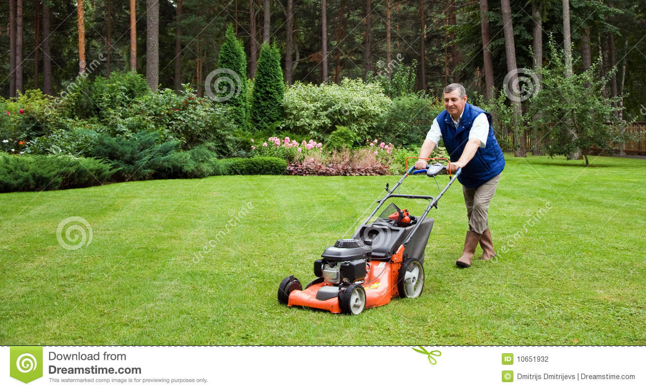 Senior Man Mowing The Lawn. Stock Photography - Image: 10651932