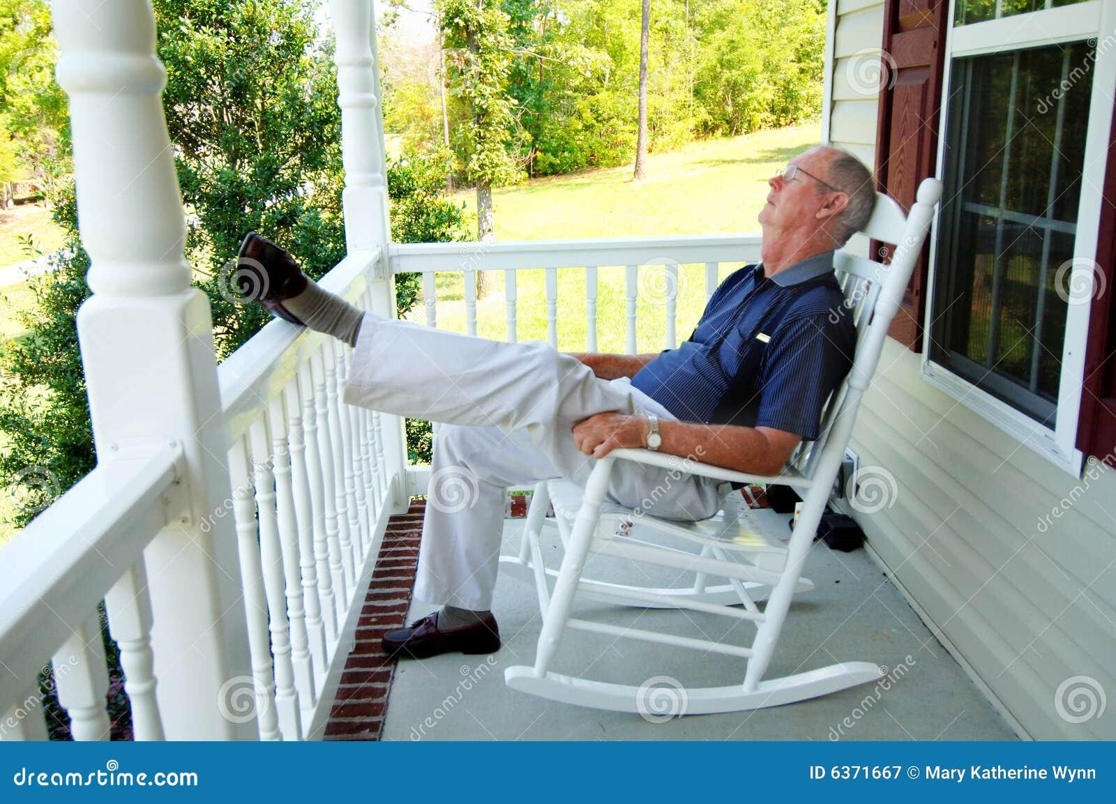 Senior Man Naps On Front Porch Stock Image Image Of