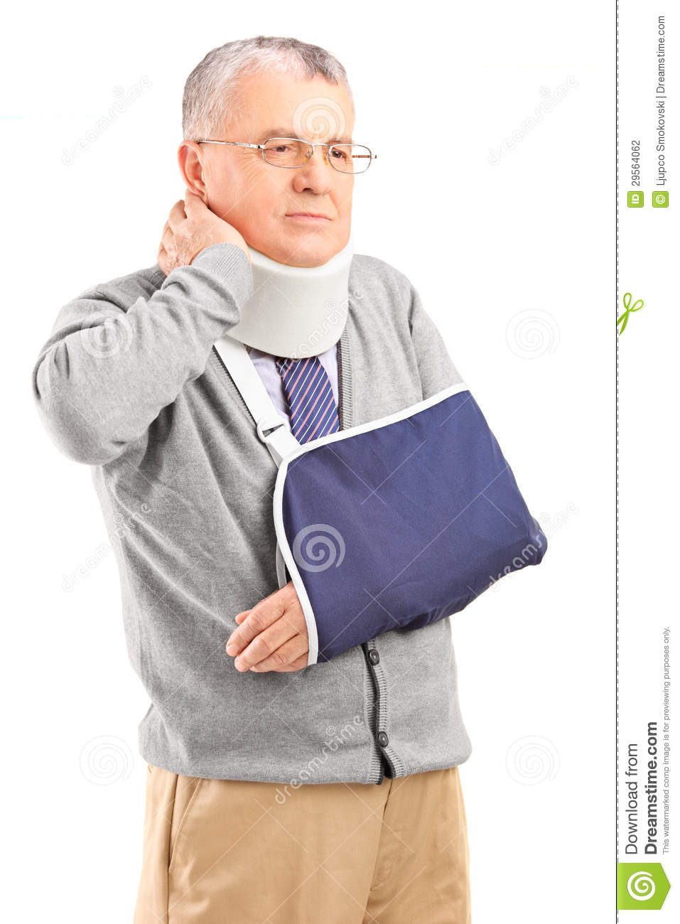 Senior Man In Pain Wih A Broken Arm Holding His Neck Stock Photography ...