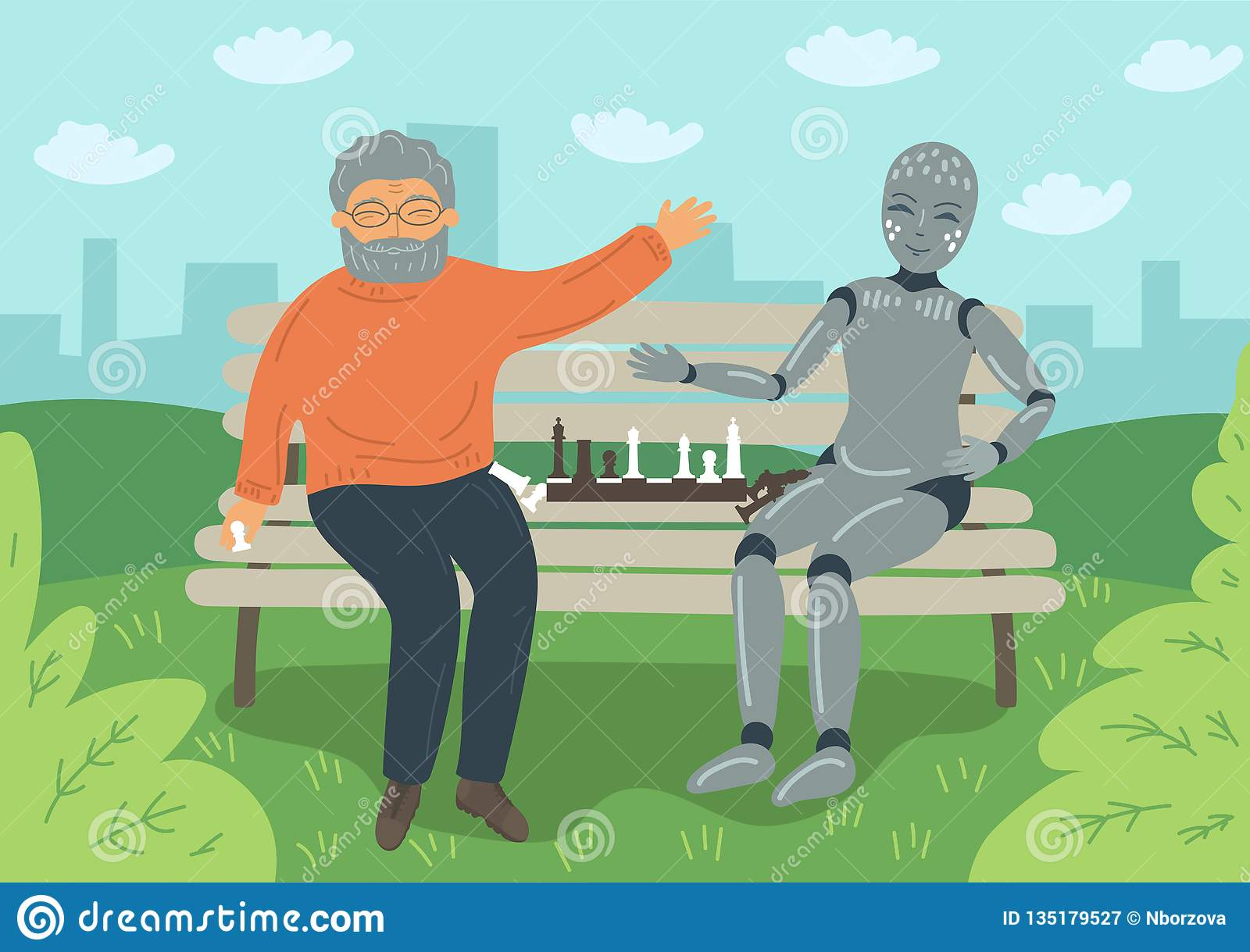 Senior man playing chess with robot on the bench outdoors.