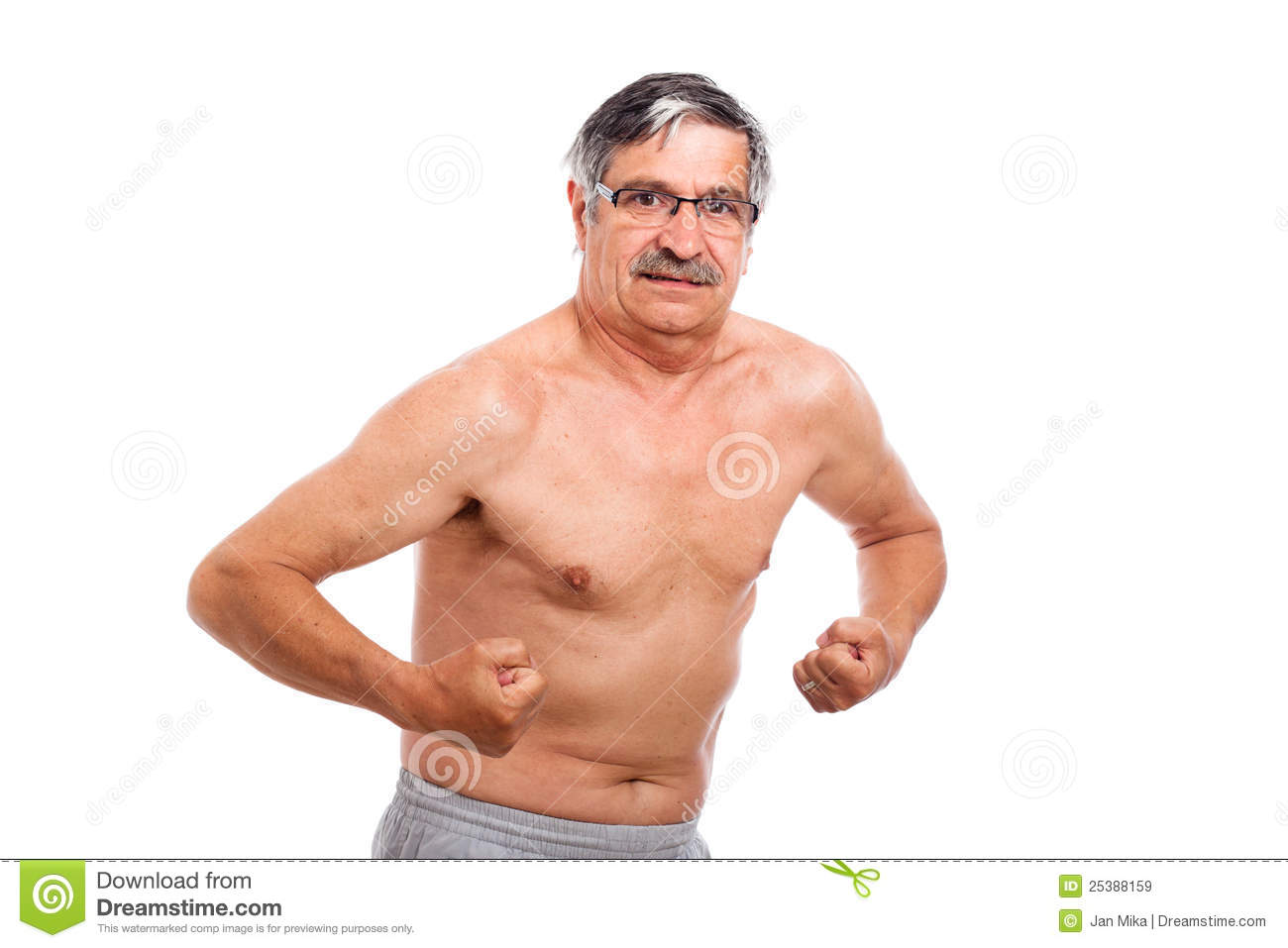 Senior Man Showing Muscles Royalty Free Stock Images - Image: 25388159