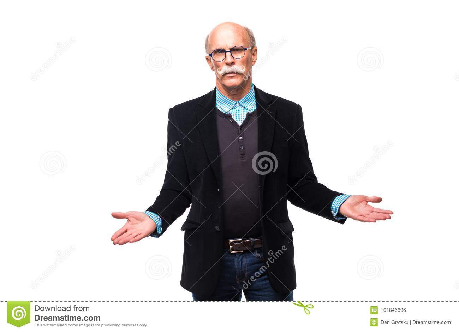 Senior man shrugging with raised hands on white background