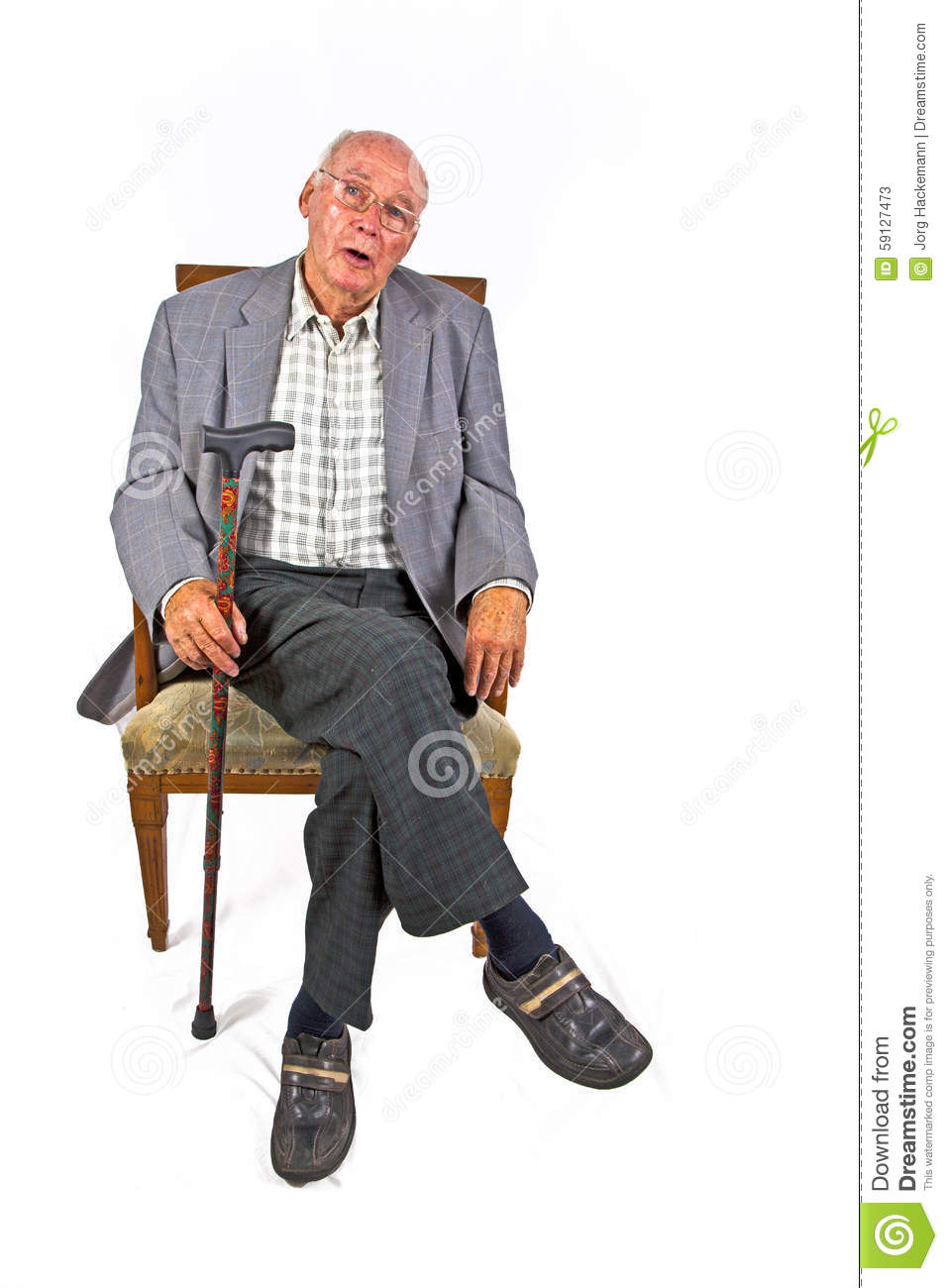Senior man sitting in his armchair stock photo image for Sitting in armchair