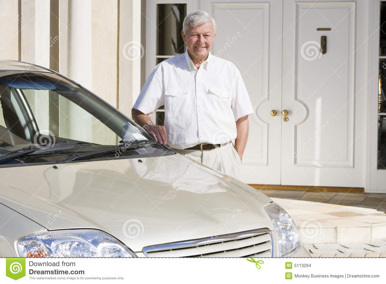 Senior man standing next to new car stock images image 5113294