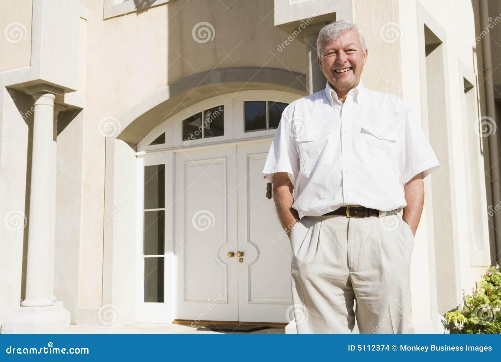 Senior Man Standing Outside House Stock Images Image