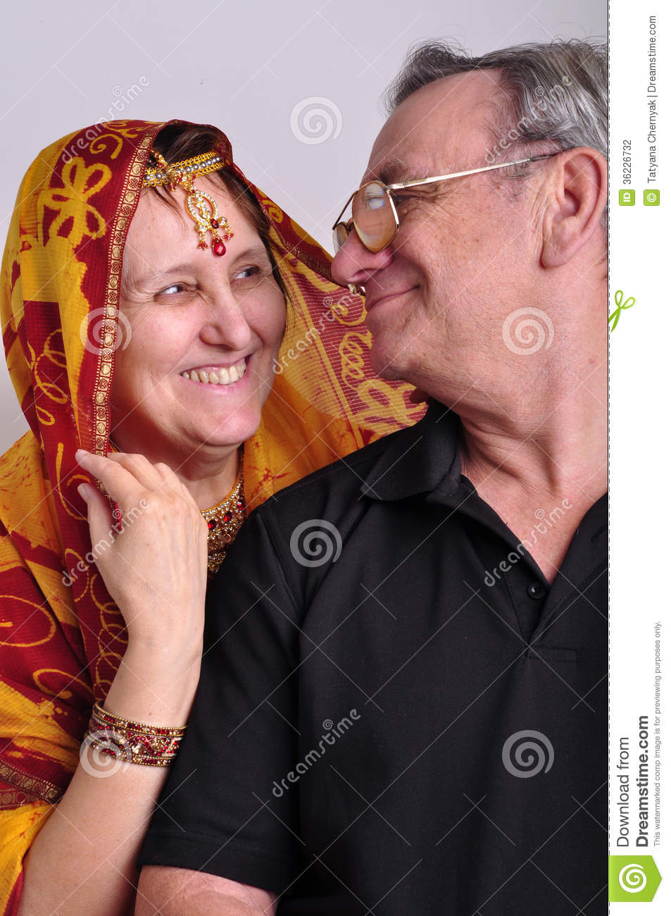 Senior Man And Woman In Traditional Indian Clothing Stock ...