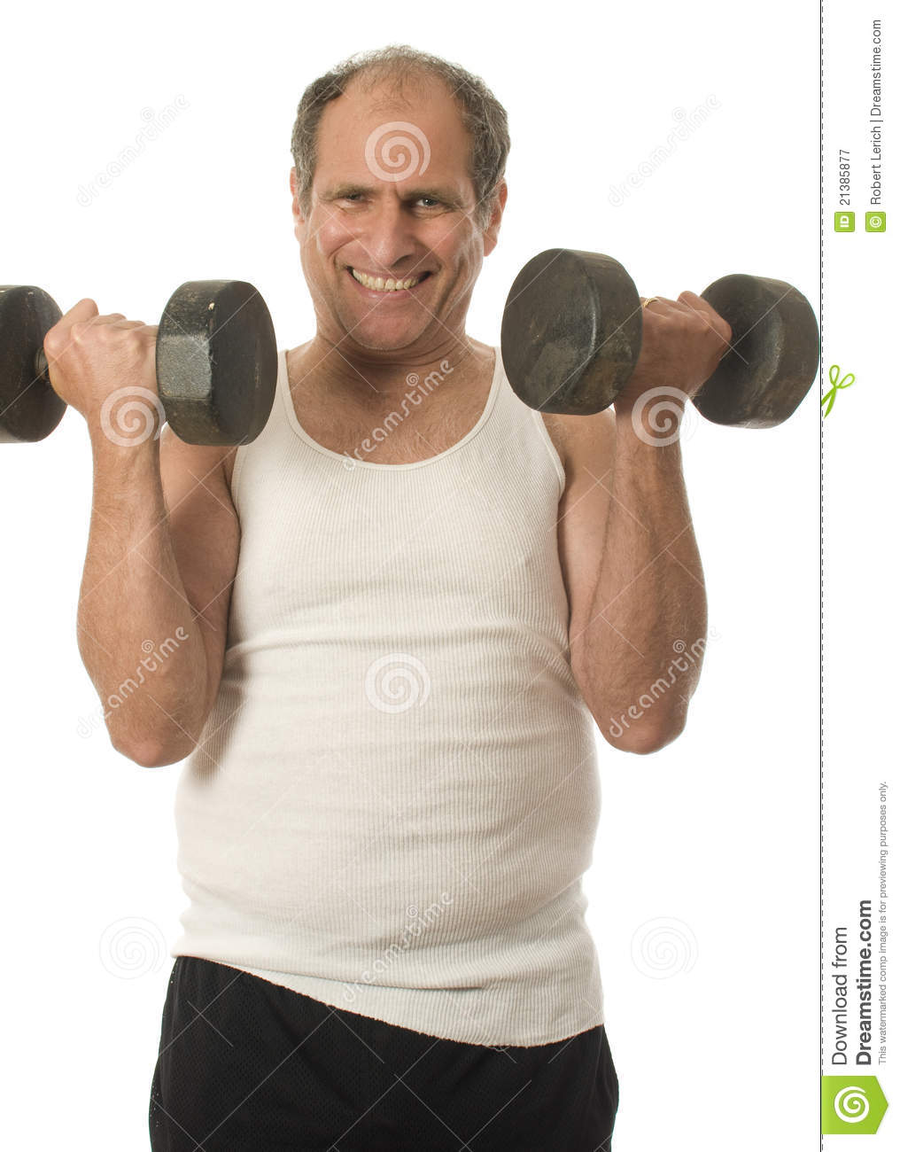 Boy Working Out With Weights Stock Photo